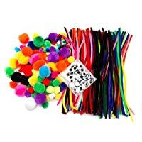 edukit Jumbo 500 PC Crafting Kit for Kids | Pipe Cleaners, Pompoms & Googly Eyes Large Assortment of Colors & Size | DIY Art Supplies for Children