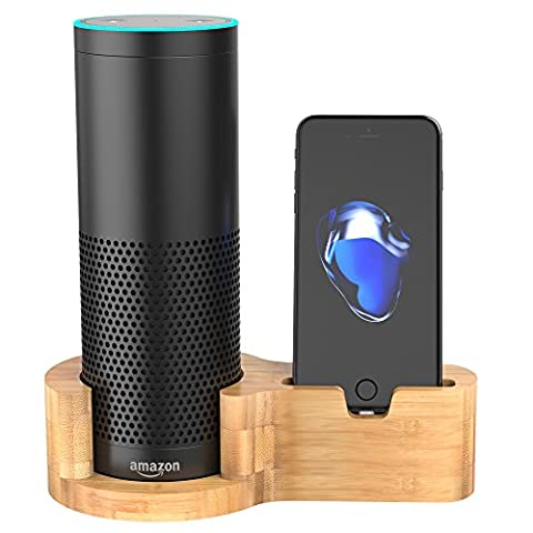 Peteast Echo Speaker Stand, Bamboo Wood Amazon Alexa Echo Speaker Stand, Charging Stand for Amazon Echo and Phones, Stable Sleek Home Decor