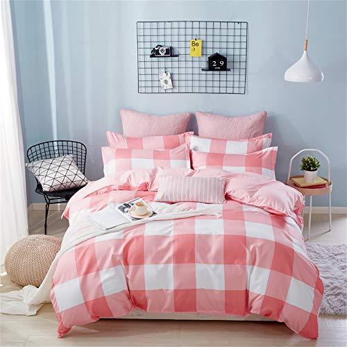 KANG-FANG,Vier Sätze von knackigen und einfachen Blättern auf dem Bett(Color:ROSA,Size:KÖNIGINGRÖSSE) -