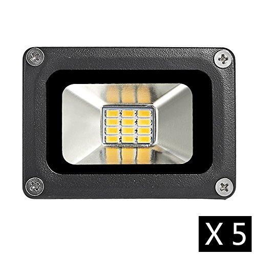Cheerfulus 5 Stücke 12V DC Warmweiß 10W LED Wandstrahler Scheinwerfer Strahler Fluter IP65 Außen Flutlicht Leuchtmittel 2800-3500K [Energieklasse A+] (Flut-licht-halter)