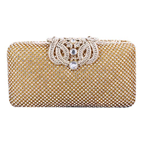 Reinigen, Satin-handtasche (Umhängetasche für Frauen Reisen Frauen Crown Diamond Kleid Kette Abendtasche Handtasche Schulter Cross Bags Gold One Size)