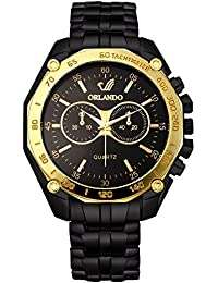 Orlando® Branded Chronograph Look With Black Dial, Black & Gold Plated Metal Belt Watches For Men - W1308BGXZ