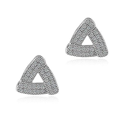 L'oro bianco 18K placcato intorno CZ Cubic Zirconia triangolo Orecchini con argento Messaggio