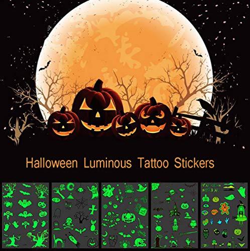 OOSM&H Tattoo Aufkleber Leuchtkörper Kunst Tattoo Für Weihnachten Halloween Ungiftig Wasserdicht Flash 5 - Halloween-maniküre Niedliche