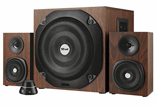 Trust Vigor 2.1 Holz Bluetooth Lautsprecherset (mit Subwoofer, 100 Watt) braun