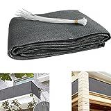 Balcon Vue de protection UV opaques wetterbeständige Tissu Spécial balcon Whencke Revêtement de balcon de haute densité avec serre-câbles 5m (90x 500cm) Gris