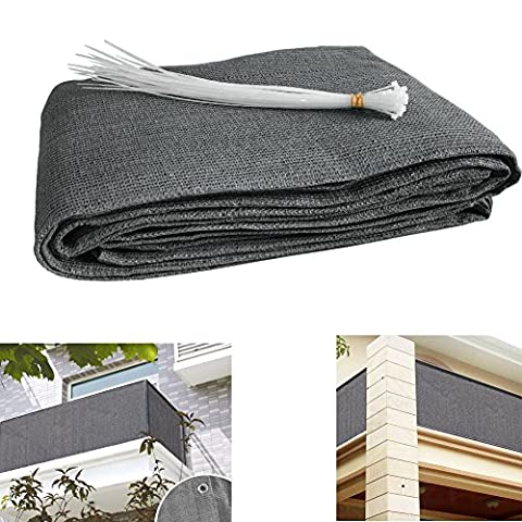 Zimo Balcony Privacy Shield UV Protection Opaque Weather-Resistant Cover Balcony Cladding HDPE with Cable Ties Special Fiber 5 m (90X500 CM) Grey