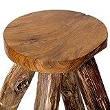 Brillibrum Design Hocker aus Teakholz - Beistelltisch Schemel aus Holz Natur Sitzhocker Teak 45 x 27 x 24 cm (H x B x T)