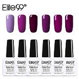 Elite99 Esmalte Semipermanente Esmalte de Uñas Gel UV LED Color Morado Lila 6pcs Kit de Manicura Soak off 10ml - Morado 011