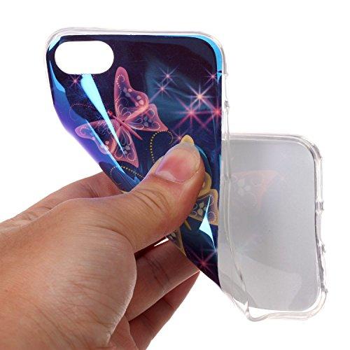 Cover iphone 8 / 7, Custodia iphone 8 / 7, Alfort Cover Protettiva Premium TPU di alta qualità Flip Case Cover per iphone 8 / 7 4.7 Smartphone Colorato Cristallo Trasparente Ultra Sottile Morbido TPU Tre Farfalla