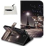 TOCASO Glitter Galaxy Tab 3 7.0(T210) Hülle Wallet Case Telefon Tasche Handytasche Kreativ Musterhülle im Ultra Slim Handyhülle Stand Karte Magnet Klapphülle Rückseite -Stadtlandschaft
