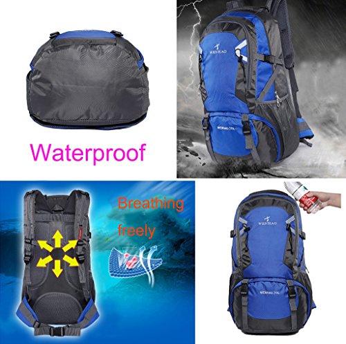 Super Modern Unisex Wanderrucksack Nylon Wasserdicht Camping Rucksack/Rucksack Gepäck Tasche (70L) Dunkelblau