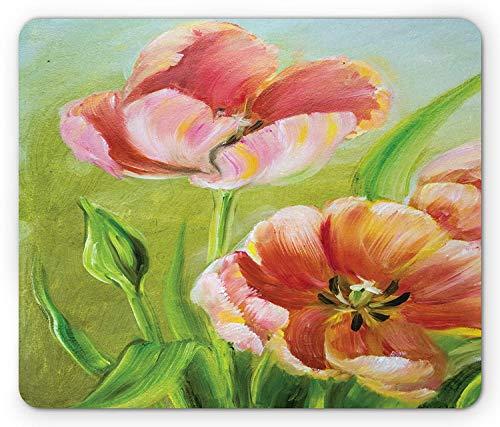 Tulip Mouse Pad, Vintage Petal Details with Stems Oil Still Life Painting Vibrant Art Digital Print, Standard Size Rectangle Non-Slip Rubber Mousepad, Multicolor Digitale Tulip