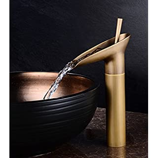 Sccot Wasserfall Wasserhahn Weinglas-Stil Einhebel Bad Mischbatterie Vintage Antik Messing Bad Waschtisch -Armatur Waschtischarmatur Hoch Wasserfall (Hoch)