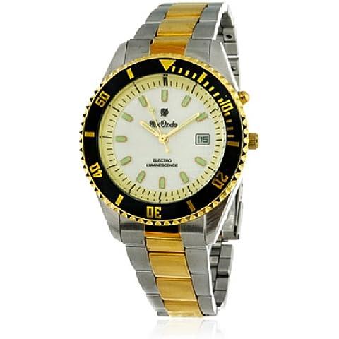 Mx Onda DR139 - Reloj con correa de cuero para hombre, color beige / gris