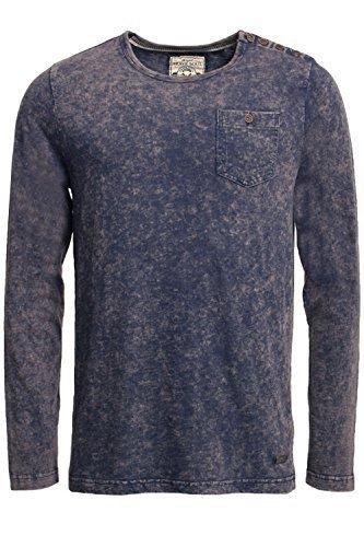 Herren Langarm T-shirt Brave Soul Magnus Rundhals Distressed Acid Wash Top Denim