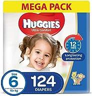 HUGGIES Ultra Comfort Diapers, Size 6, Jumbo Pack, 15+ kg, 124 Diapers