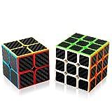 Abwei Cubo, Cubo Mágico Speed Cube Puzzle Pack - 2x2 3x3 Adhesivo de Fibra de Carbono Cube para Juegos Rompecabezas y Regalo Festivo