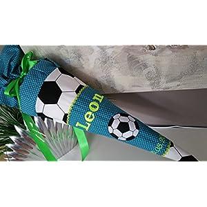 Fussball Petrol neon neongelb Schultüte Stoff + Papprohling + als Kissen verwendbar
