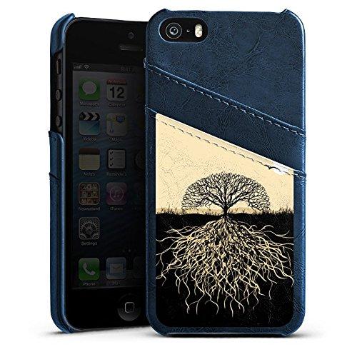 Apple iPhone 3Gs Housse étui coque protection Arbre Racines Nature Étui en cuir bleu marine
