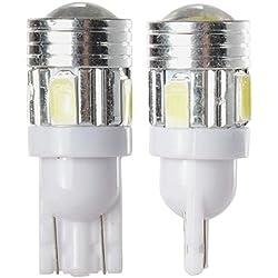 TOOGOO 5W Ampoule T10 LED pour Voiture avec 6 LED SMD 5730, 2 Pièces Blanches pour Veilleuse 12V Ma250
