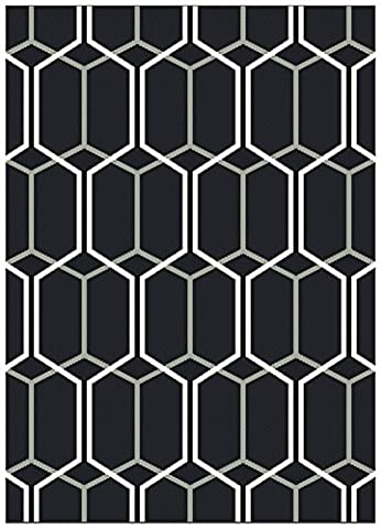 Modern Designer carpet Pewit Indoor Outdoor Rug 160x230cm PAT09 Charcoal Geo Black 100% Polypropylene