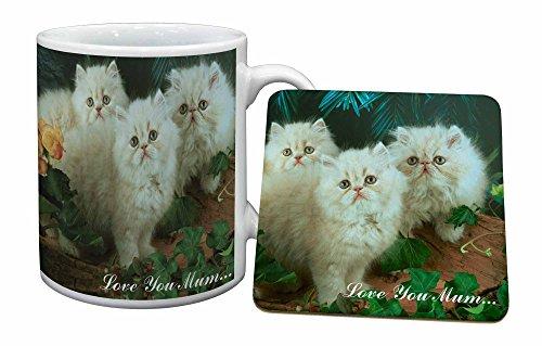Advanta - Mug Coaster Set Persian Kittens 'Love You Mum' Becher und Untersetzer Tier Ge - Persischen Becher