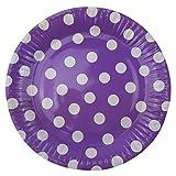 72 Pappteller Ø 23 cm - Bunt, gepunktet, rund, lebensmittelecht, beschichtet, je 12x blau, grün, gelb, pink, lila und rosa - 4