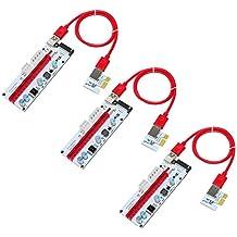 3-Pack PCI-E 16x bis 1x Powered Riser Adapterkarte mit 60cm USB 3.0 Verlängerungskabel & 6-Pin / 4-Pin / SATA Schnittstelle - GPU Riser Adapter - Ethereum Mining ETH (Aufgerüstete Version)