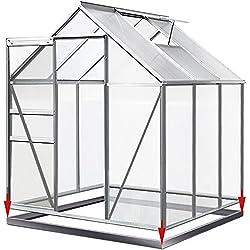 Aluminium Gewächshaus 5,85m³ mit Fundament Treibhaus Gartenhaus Frühbeet Pflanzenhaus Aufzucht 190x195cm ✔ Modellauswahl ✔verschiedene Größen ✔Fundament optional auswählbar
