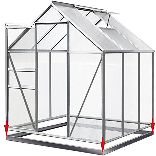 Deuba Aluminium Gewächshaus 5,85m³ mit Fundament Treibhaus Gartenhaus Frühbeet Pflanzenhaus Aufzucht 190x195cm | Modellauswahl | Verschiedene Größen | mit Fundament