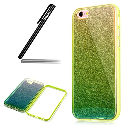 Ukayfe Custodia Morbido per iPhone 6/6S plus,2 in 1 Ultra Slim Casa per iPhone 6/6S plus Cover in Gel TPU Silicone Case Morbida Soft Trasparente e Cristallo Protettiva Custodia Brillantini Resistente  Glitter Verde