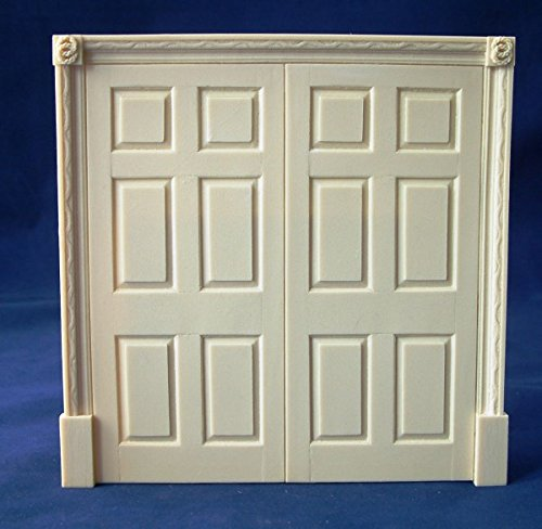 Melody Jane Casa Delle Bambole Regency Double Porta Finti 6 Panel Interno Resina Miniatura Ante