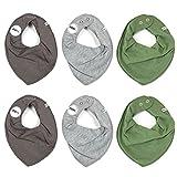 Pippi 6er Pack Baby Jungen Halstuch, Farbe: Grün, Grau und Dunkelgrau, One Size