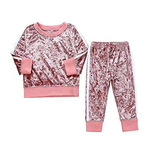 Kobay Kleinkind Kinder Baby Mädchen Jungen Langarm Solide Tops + Hosen Outfits Set Kleidung(6-12M,Rosa)