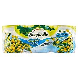 Bonduelle Mais e Piselli, Contorno a Base di Mais, 3 x 170 gr – Totale: 510 gr