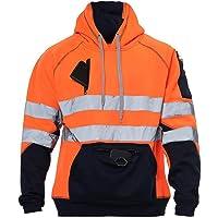 Hi Vis Hoodie Sweatshirt Safety Work Reflective Jumper Hoodie High Viz Hoodie High Visibility Sweatshirt 3 zipped pocket