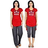 Carrel Cotton Hosiery Fabric Printed Women Top, Pant & Capri(AGSPL-3451)