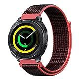 Fintie Armband für Samsung Gear S2 Classic SM-R732 & SM-R735 / Gear Sport SM-R600 Smart Watch - Nylon atmungsaktive Uhrenarmband Ersatzband mit verstellbarem Verschluss, helles Purpurrot/Schwarz