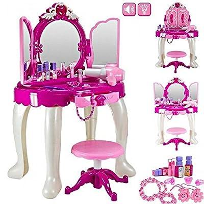 Girls Glamour Mirror Makeup Dressing Table Stool Playset Toy Vanity Light & Music Great ~Birthday Christmas XMAS Gift New - inexpensive UK light store.