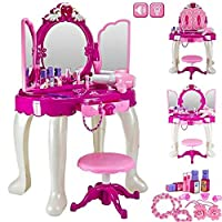 Delex® Pretend Princess Girls Glamour Mirror Makeup Dressing Table With Stool, Mirror, Cosmetics and Working Hair Dryer Playset Toy Vanity Light & Music Great Christmas XMAS Birthday Gift New