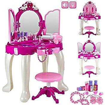 Girls Glamour Mirror Makeup Dressing Table Stool Playset Toy Vanity Light U0026  Music Great Christmas XMAS Gift New