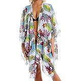 Copricostume Donna Mare Chiffon Costume da Bagno Abito Spiaggia Colorata Copricostumi Bikini Cover Up per Andare al Pareo la Kimono Floreale Cardigan Casual Estate Vacanza e Party Caftano