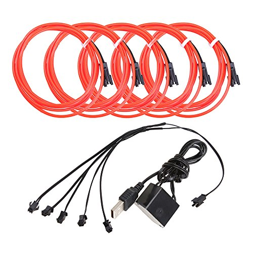 5pcs Neon Beleuchtung 1m EL Kabel Wire mit USB Kontroller Flexibel Wasserdicht Innenbeleuchtung für Weihnachten Halloween Partys Kostüm Autos Dekor Geschenk