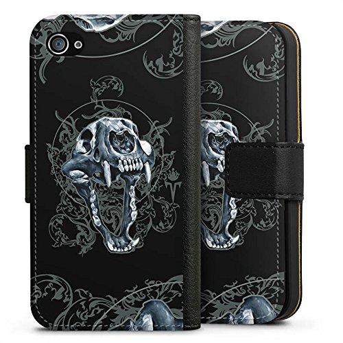 Apple iPhone X Silikon Hülle Case Schutzhülle Puma Totenkopf Pumakopf Sideflip Tasche schwarz