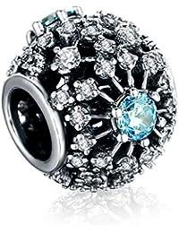 Zxx Jewelry Joyas de Plata esterlina 925 Joya para Mujer Cuentas de Abalorios Brillantes circón Cuentas Redondas Azul y Oro para Pulseras de dijes Europeos por,Blue