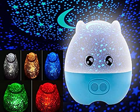 StillCool® 3 in1 Five Colors with Remote Controller Lovely Pig Shape Star Rotating Projector Night Light with Speaker for Valentine's Gift (Blue)