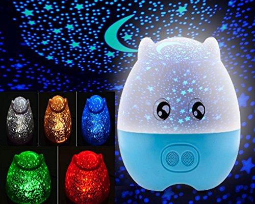 E-Plaza LED Luce notturna Lampada da scrivania Bello Maiale Forma Rotante Proiettore Lampada 5 Colore Cambiare con Remote Controllo per Bambini Addormentato Amanti (Blu)