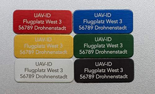 UAV-ID - Extra Kleines Drohnen-Kennzeichen, Nur 20x8mm winzige Plakette, Namensschild für Quadrocopter und Modellflugzeuge, Aluminium eloxiert, Hochwertige Laserbeschriftung (Schwarz)