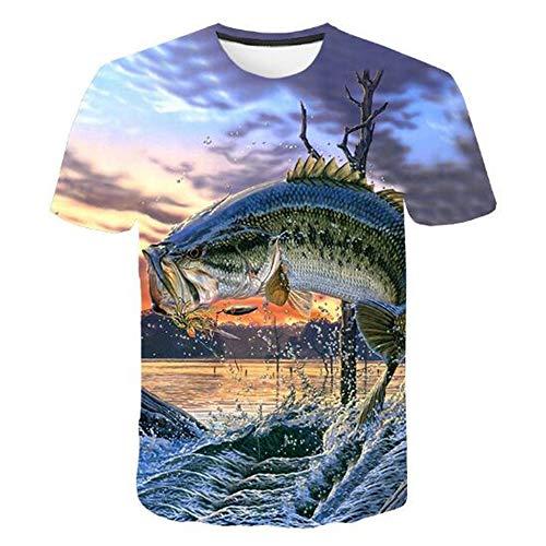 Tops für Männer T-Shirt Männer Bluse Männer 3D gedruckt Kurzarm Fashion Trend,3D Digitaldruck Tiefseefisch - B5 Blau XL -